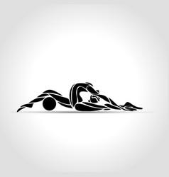 silhouette art rhythmic gymnastic girl vector image