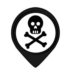 Skull pin pointer caution signal icon vector