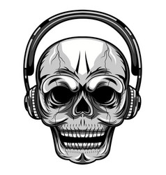 skull with a headset mascot logo vector image