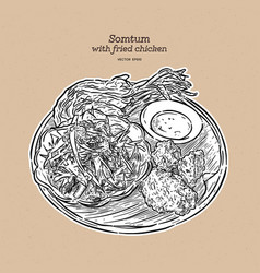Somtum with fried chicken hand draw sketch vector