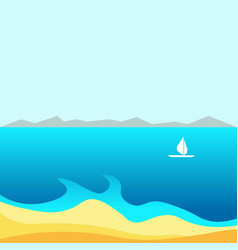 Spectacular bay with small white sailboat and vector