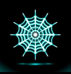 Spiderweb blue neon lamp festive halloween cobweb vector