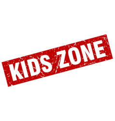 Square grunge red kids zone stamp vector