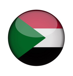 Sudan flag in glossy round button of icon sudan vector