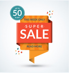 super sale banner discount label vector image