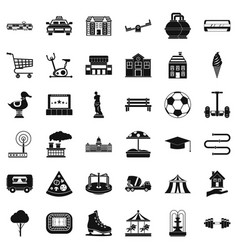 Townish icons set simple style vector