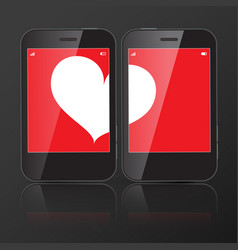 two cell phones with one heart on screen vector image vector image