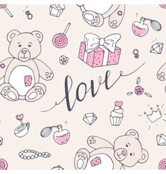 Valentine day seamless pattern with teddy bear vector image