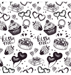 Vintage wedding sketch seamless pattern vector