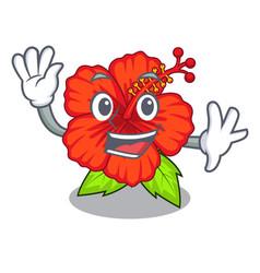Waving flower hambiscus in a cartoon pot vector