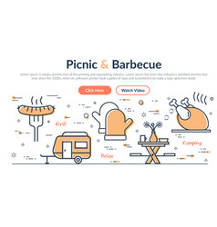 web site header - picnic and barbecue vector image