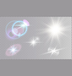 white and colored light effects set vector image