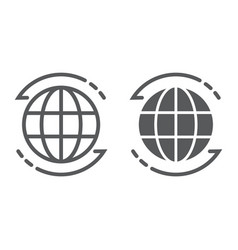 worldwide line and glyph icon globe vector image