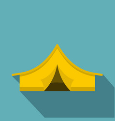yellow tourist tent icon flat style vector image