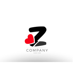 z alphabet letter logo icon with love heart vector image