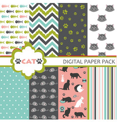 Cat Scrapbooking Paper Set vector image