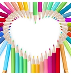 Colored pencils heart background EPS 10 vector image vector image