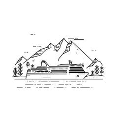 Cruise ship flat line vector image