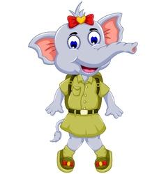 Funny elephant cartoon with safari uniform vector
