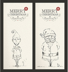 Merry Christmas unique hand drawn banner set vector image vector image