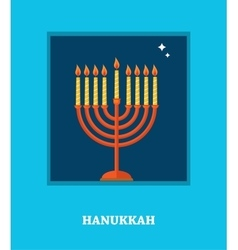 Open window with hanukkah menorah happy hanukkah vector