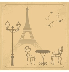 Paris landscape on vintage background vector image