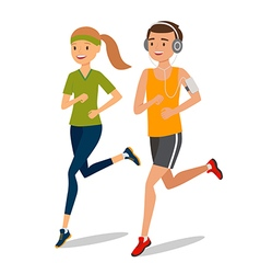 Urban sports Couple running or jogging for fitness vector image vector image