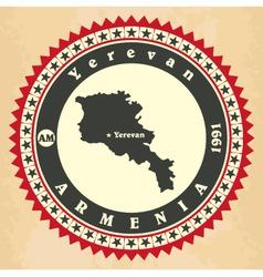 Vintage label-sticker cards of Armenia vector image