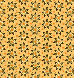 abstract flower pattern yellow brown vector image vector image