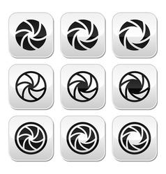 Camera shutter aperture buttons set vector image