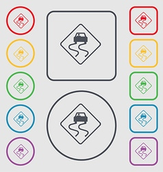 Road slippery icon sign symbol on the Round and vector image