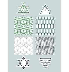 Set frames and icons of triangles on backgrounds vector image