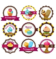 Set Labels Cupcakes vector image vector image