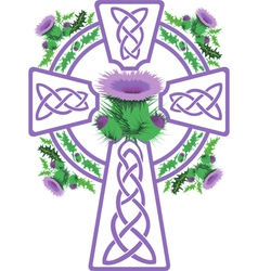 stylized pink Celtic cross framed thistle flowers vector image vector image