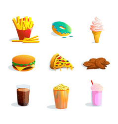 fastfood cartoon set vector image vector image