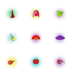 Holiday in Spain icons set pop-art style vector image vector image