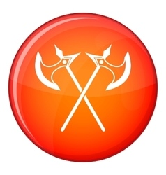 Crossed battle axes icon flat style vector image