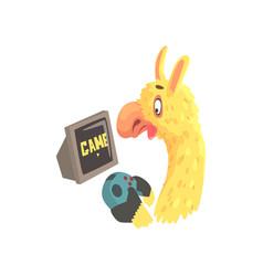 funny llama character playing computer games cute vector image