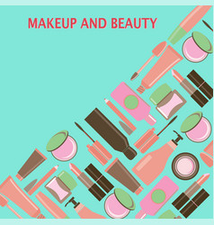 makeup and beauty symbols cosmetics and fashion vector image vector image