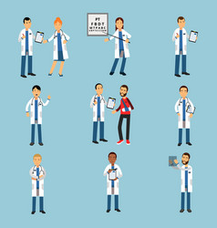 practitioner young doctors set hospital medical vector image