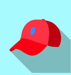 red baseball cap icon flat of red vector image vector image