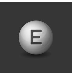 Vitamin E Silver Glossy Sphere Icon on Dark vector image vector image