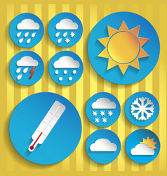 0094 weather icon paper set vector image