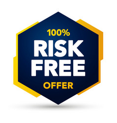 100 percent risk free offer label web banner vector