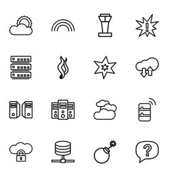 16 cloud icons vector image