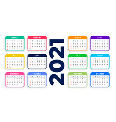 2021 new year calendar flat style template design vector