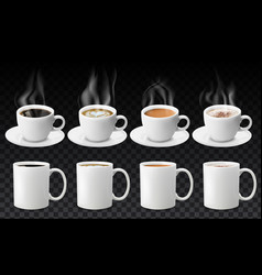 3d realistic different sorts coffee in white vector image