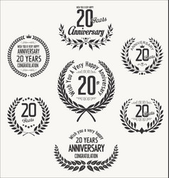 Anniversary laurel wreath 20 years vector