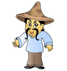 Asian tradesman in hat vector