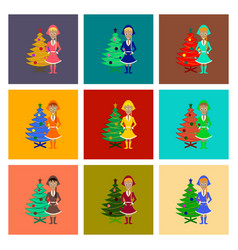 Assembly flat christmas girl and fir tree vector